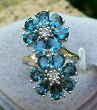 5.43 cts Genuine London Blue Topaz Size 7 Ring in 925 Sterling Silver