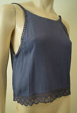 ANM Designer Blue Lace Trim Creased Fabric Sleeveless Camisole Top Sz:M BNWT