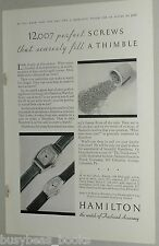 1931 Hamilton Watch advertisement page, Thimble with 12,007 screws