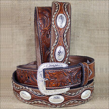 44 INCH WESTERN BROWN LEATHER MENS BELT FLORAL TOOLING  SCALLOPED OVERLAY