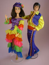 DONNY & MARIE OSMOND DOLLS - 1976 - IN COMPLETE SOUTH O THE BORDER OUTFITS