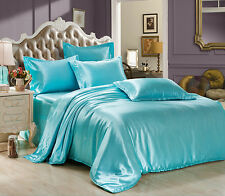 Solid Satin Bedding Pillowcases Duvet Cover Quilt Cover Set Queen King Sizes