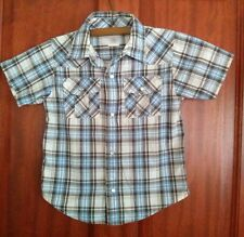 Gymboree Boys Collared Cotton Short sleeved Shirt Size 2T BLUE/BROWN Check