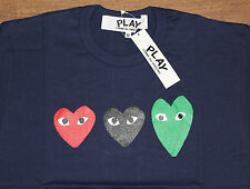 PLAY Comme des Garçons Navy Triple Heart Logo T-Shirt Size: M *SOLD OUT* *RARE*