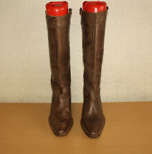 Brown Leather TAKE A WALK Pull On Western Cowgirl Heel Riding Boots Size 5 / 38