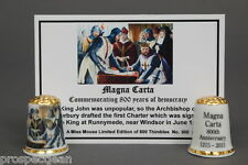 Magna Carta 800 Yrs of Democrasy Gold Topped Ltd Ed China Thimble+Cert B/153