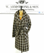 Women's DANNIMAC Brown VTG 60s 70s Checked TRENCH COAT Mac BELTED Alexa Mod 12