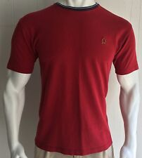 Tommy Hilfiger Men's XL Ringer Tshirt Red Crest Short Sleeve Maroon 90's Flag