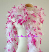 65 gms Chandelle feather boa  WhiTe w/ HoT PiNK Tips
