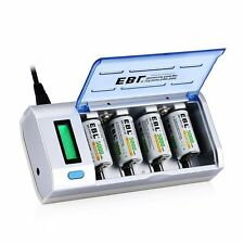 EBL LCD Universal Battery Charger, Discharge Function & 4 Pack C Size Batteries
