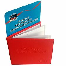 "Red 4-Pocket CAR INSURANCE REGISTRATION HOLDER 5.25""x4.6"" Embossed Faux-Leather"