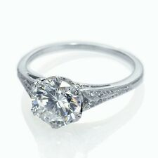 1.10 Carat Round Diamond Old European Cut Vintage Engagement Ring in Platinum .