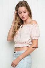 brandy melville Pink off -shoulder self tie ruffled trim  ezra crop top NWT S/M