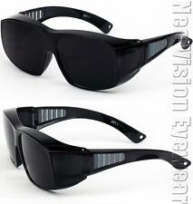Large Will Fit Over Most Rx Glasses Sunglasses Safety Black Super Dark Lens 275