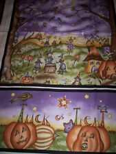 1 PANEL ON THE WEB by JACQUELINE PATON RED ROOSTER Pumpkins witch cats