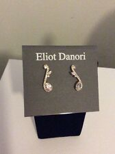 $45 Eliot Danori silver  Tone Crystal  musical Note Earrings Ed 100