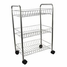 3 Tier Metal Kitchen Storage Trolley Vegetable Fruit Cart Drawer Rack Wheels New