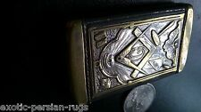 ANTIQUE MASONIC SILVER-PLATE VESTA MATCH SAFE PAT.1904