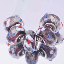 Popular 5Pcs 925 Silver Red White flower Crystal MURANO GLASS european beads