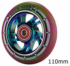 Team Dogz Rainbow Neo Chrome 110mm Scooter Alloy Wheels Mixed PU Purple Green