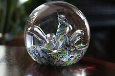Amazing 4 Controlled Bubbles in multi colored base Glass paperweight