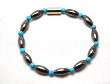 LADIES 7.5 IN. HEALING MAGNETIC THERPAY BRACELET:  Black Hematite & Turquoise
