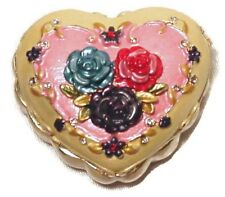 Heart Ring Jewelry Box Trinket Box with Enamel Roses