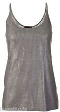 Vince Sequin Textured Cami Tank Top Size S $185 Pewter Rayon Poly Blend