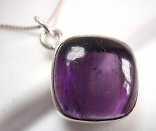 Amethyst Square Pendant with Soft Corners 925 Sterling Silver Cushion New