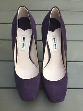 Miu Miu By Prada Purple Suede  Curved/Sculpted Heels/Pumps US Size 6 Pre-owned