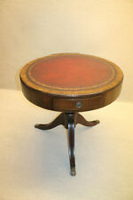 Outstanding Turn of 19th English Georgian Leather Top Round Center Side Table