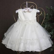 New Flower Girl Satin Tulle White Pink Ivory Dress First Communion Wedding Baby