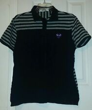 PLAY Comme des Garcons Large Juniors Polo Black Gray Purple Heart Silver Accents