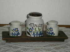 SERVICE A CONDIMENTS EN FAIENCE DE DESVRES GABRIEL FOURMAINTREAU DECOR CHAUMIERE