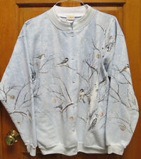 Artisans Winter BIRDS ON BIRCH Snow Scene Fleece WOMENS SWEATER Cardigan SIZE XL