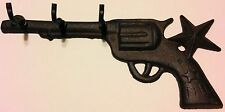 Star Gun Key Holder Cast Iron 3 Hook 6 Shooter Pistol Coat Hanger Western Decor