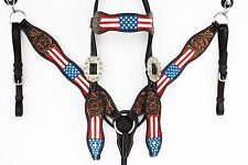 RED WHITE BLUE USA WESTERN LEATHER HORSE SHOW HEADSTALL BRIDLE BREASTCOLLAR TACK