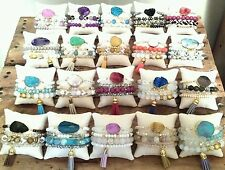 100 WHOLESALE AGATE GEMSTONE GEODE CRYSTAL DRUZY STONE BEAD BRACELET SETS STACK