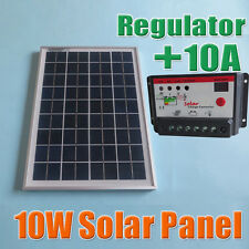 10W 18V Poly Solar Panels + 10A 12V 24V Solar Controller charge for 12V battery
