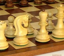 "OLD RUSSIAN 'ZAGREB' CHESS SET - SAPELE & MAPLE BOARD 17¼"" - K=3¾ (ww 37so-sm)"