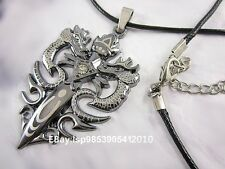 Men's Stainless Steel Double Dragon Sword Pendant Choker Necklace