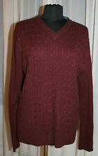 Mens Oleg Cassini Sweater Sz XL V-Neck Wine Burgundy Cable Knit Medium Weight
