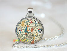 by Charles Voysey Glass Cabochon Tibet silver Chain Pendant Necklace wholesale