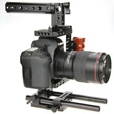 Camera Video Stabilizer DSLR Cage Rig w/ 15mm Rod & Top Handle & Wooden Grip
