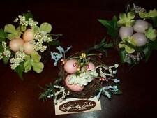NEW SET 3 SMALL BIRD NESTS EASTER SPRING TABLE DECORATIONS FLORAL NEST OF EGGS