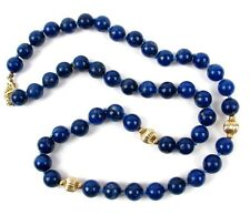 "Vintage 14k Gold & Lapis Lazuli 7mm Bead Necklace 18"" Knotted Strand"