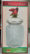 Cookie Jar Cracker Barrel Christmas Season Of Peace Glass Container New in Box