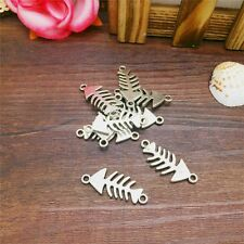 Cool Charm 6pcs Fish-bone Tibet Silver Pendant Fit for Bracelet Necklace CJP30