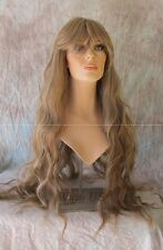 "Long Wig Cascading Waves Bangs Light Brown Mix 32"" HS Aspen HEAT OK Wigs US"
