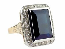 Jugendstil & Modern 585 Gold 8,80 ct Saphir 0,70 ct Diamant Damen Herren Ring
